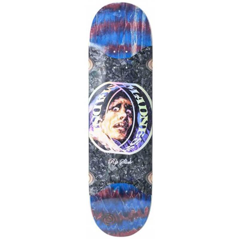 Madness Prism Ring Slick Skateboard Deck Red Swirl 8.625