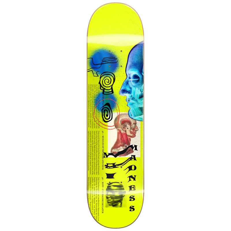 Madness Skinned R7 Skateboard Deck Neon Yellow 8.75