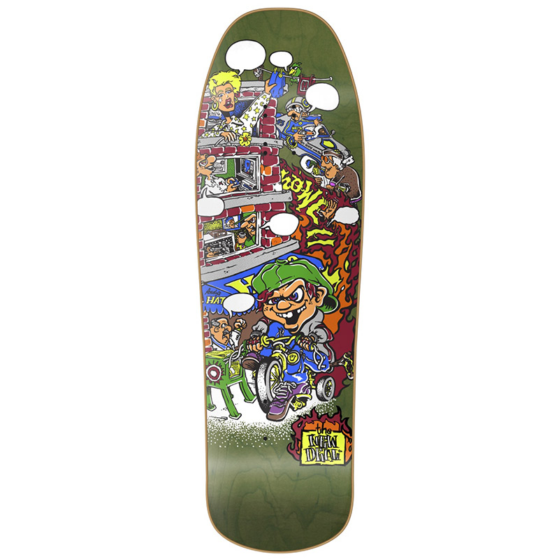 New Deal Howell Tricycle Kid HT Skateboard Deck Green 9.625