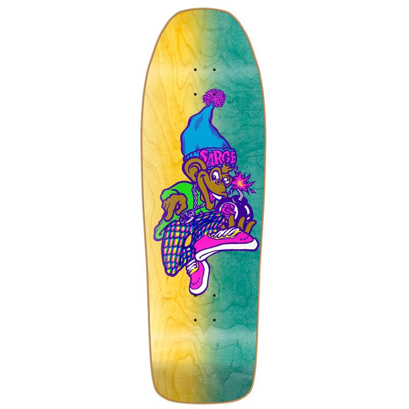 New Deal Sargent Monkey Bomber Neon Heat Transfer Skateboard Deck Neon 9.625