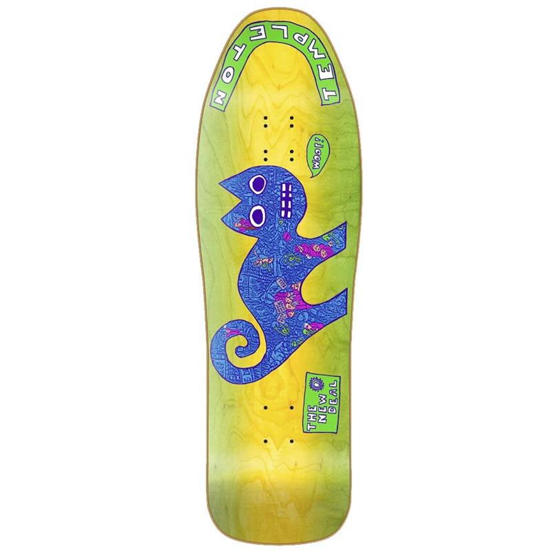 New Deal Templeton Cat Neon Heat Transfer Skateboard Deck Neon 9.75