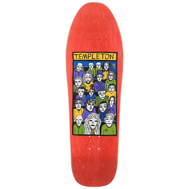 New Deal Templeton Crowd Screen Printed Skateboard Deck Red 10.125