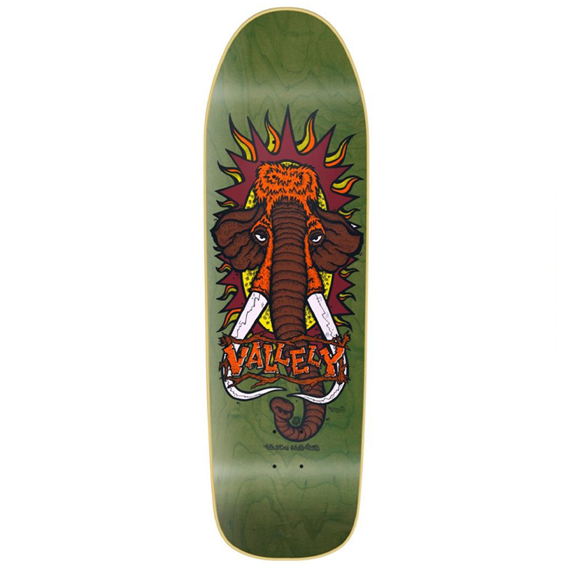 New Deal Vallely Mammoth Screen Printed Skateboard Deck Green 9.5