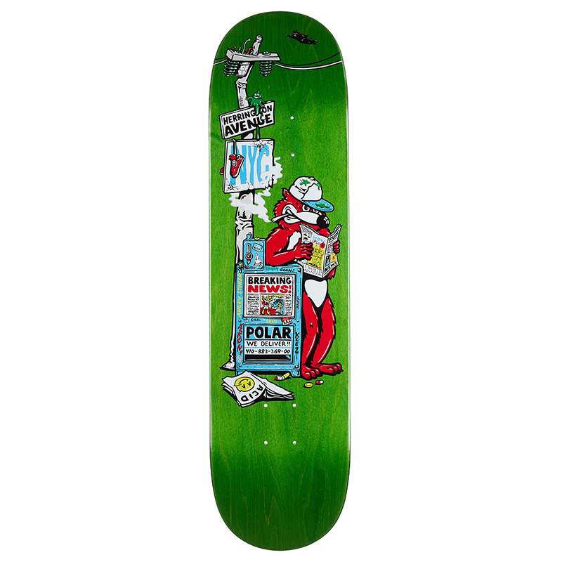 Polar Aaron Herrington Breaking News Skateboard Deck 8.0