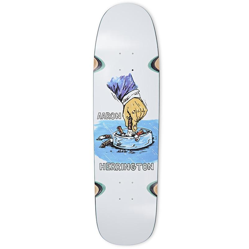 Polar Aaron Herrington Chain Smoker Wheel Well P9 Shape Skateboard Deck White 8.75