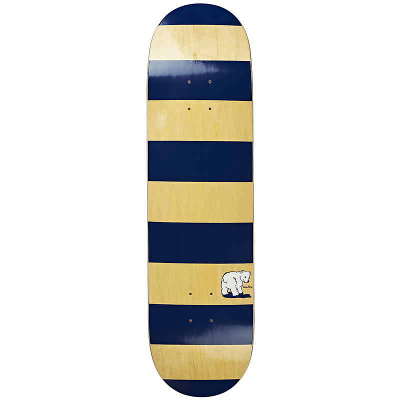 Polar Block Stripe Skateboard Deck  Navy/Yellow 8.4