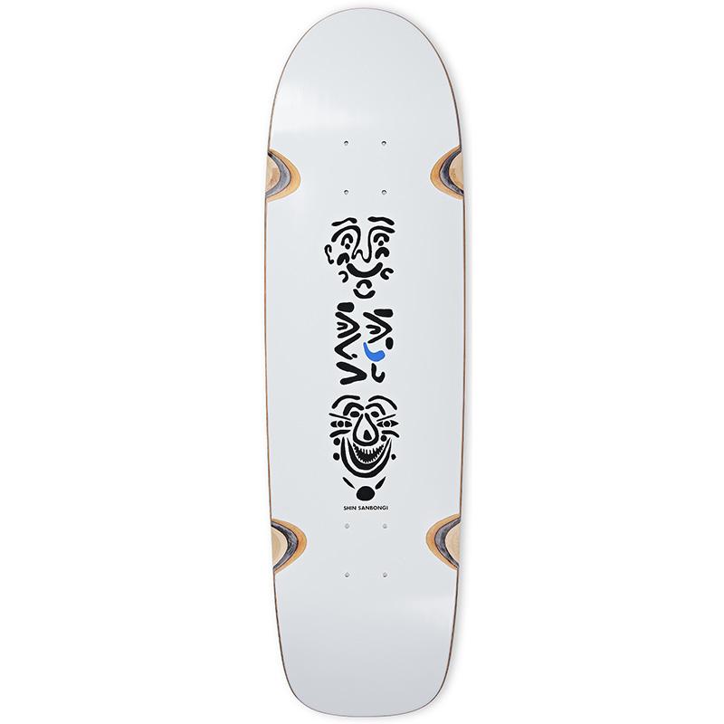 Polar Shin Sanbongi Faces Wheel Well Surf Shape Skateboard Deck White 9.0