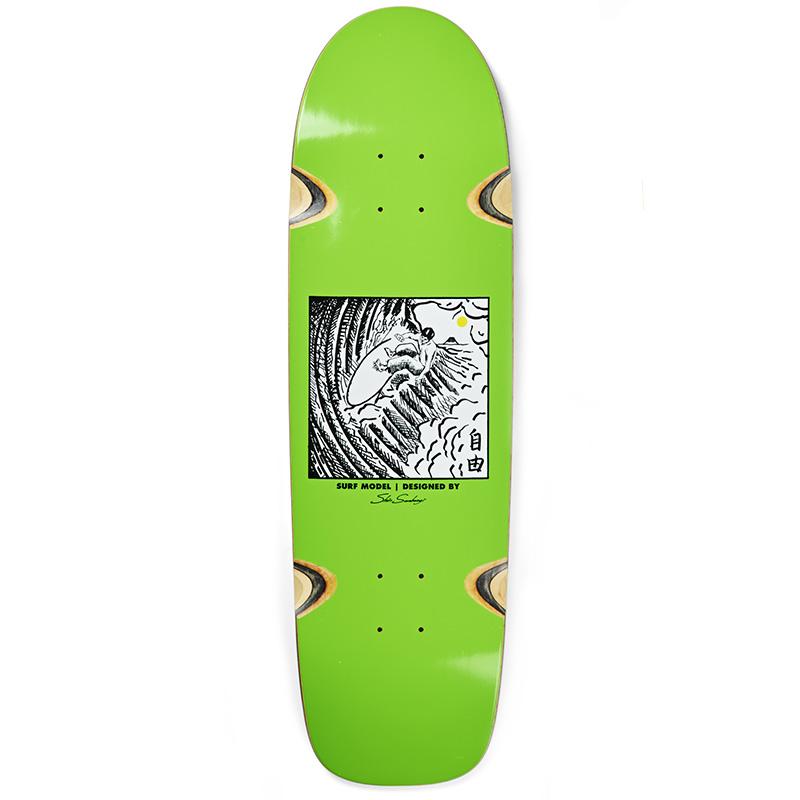 Polar Shin Sanbongi Freedom Wheel Well Surf Jr. Shape Skateboard Deck Lime 9.0