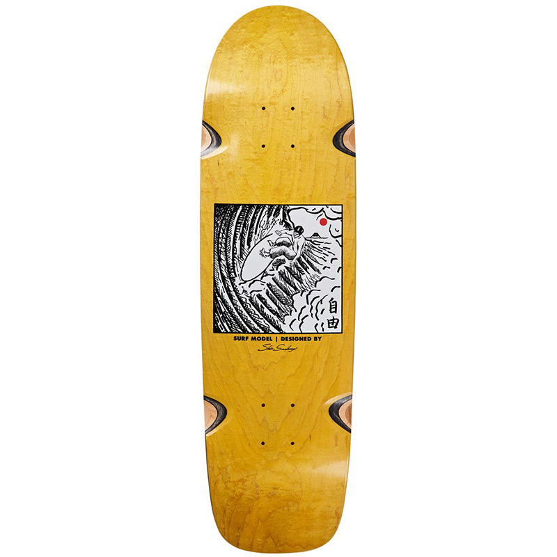 Polar Shin Sanbongi Freedom Wheel Well Surf Shape Skateboard Deck Yellow 8.75