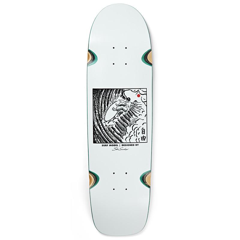 Polar Shin Sanbongi Freedom Wheel Well Surf Sr. Shape Skateboard Deck White 8.75