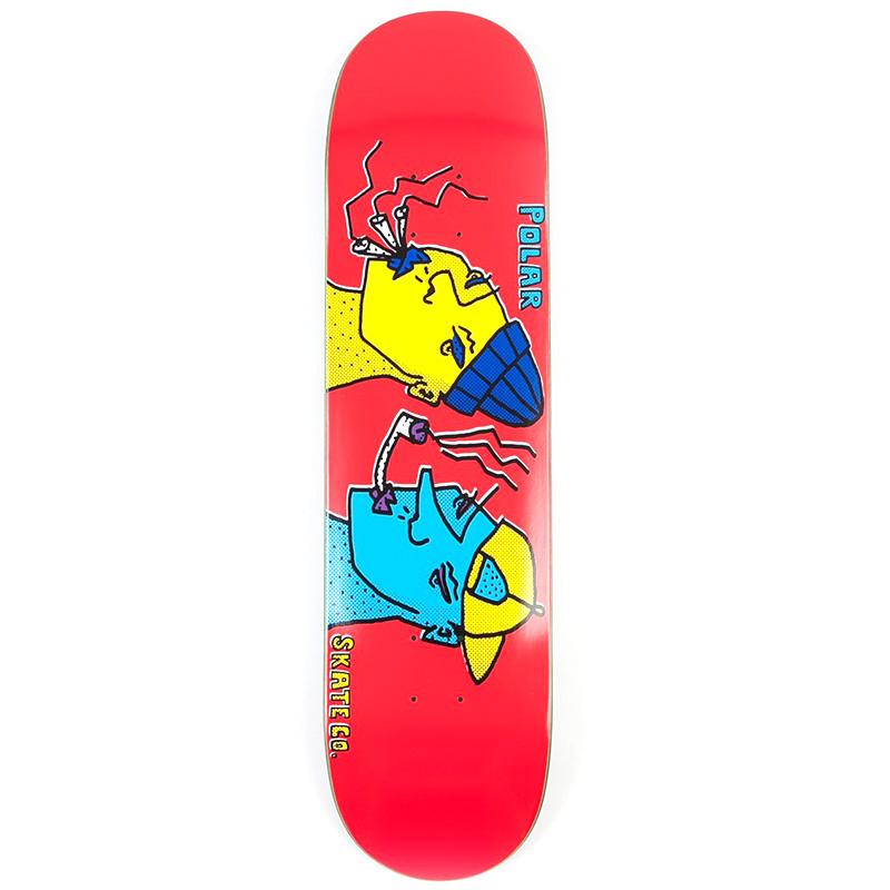 Polar Team Smoking Heads Red Skateboard Deck 8.0