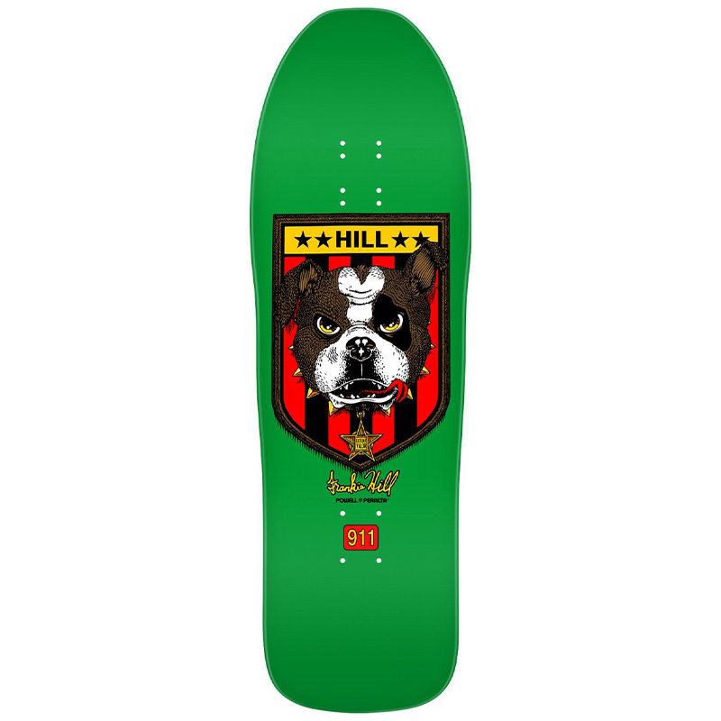 Powell Peralta Franky Hill Bull Dog Skateboard Deck Green 10.0