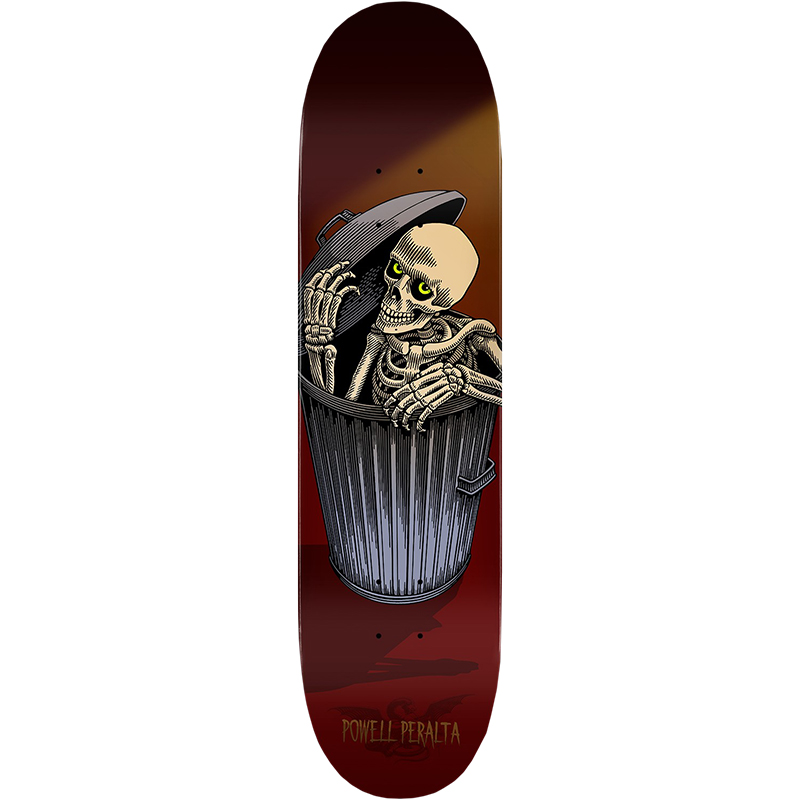 Powell Peralta Garbage Can Skelly Skateboard Deck Burgundy 8.25