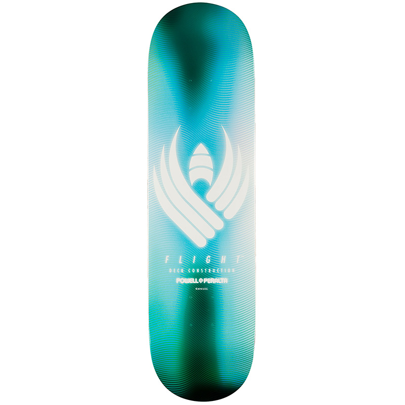 Powell Peralta Glow Flight Skateboard Deck Aqua Shape 243 8.25