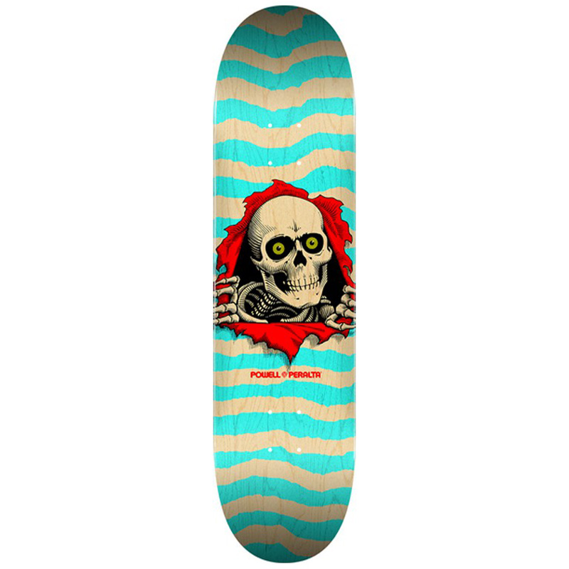 Powell Peralta Ripper Skateboard Deck Shape 242 Natural/Turquoise 8.0