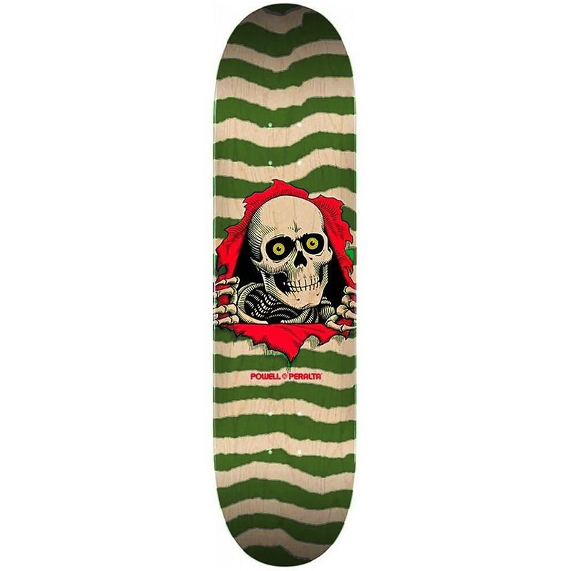 Powell Peralta Ripper Skateboard Deck Shape 245 Natural/Olive 8.75