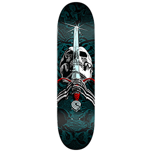 Powell Peralta Skull & Sword Skateboard Deck Red/Turq Fade 7.88