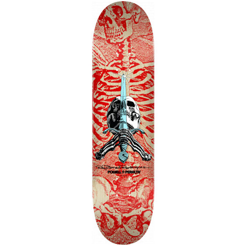 Powell Peralta Skull & Sword Skateboard Deck Shape 242 Red 8.0