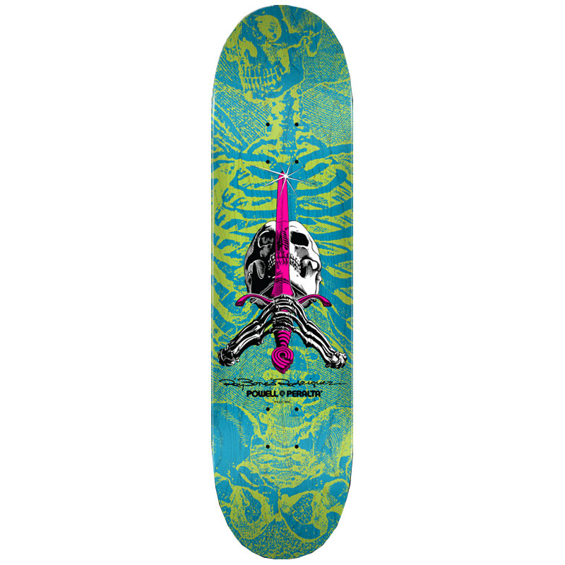Powell Peralta Skull & Sword Skateboard Deck Shape 243 Blue 8.25