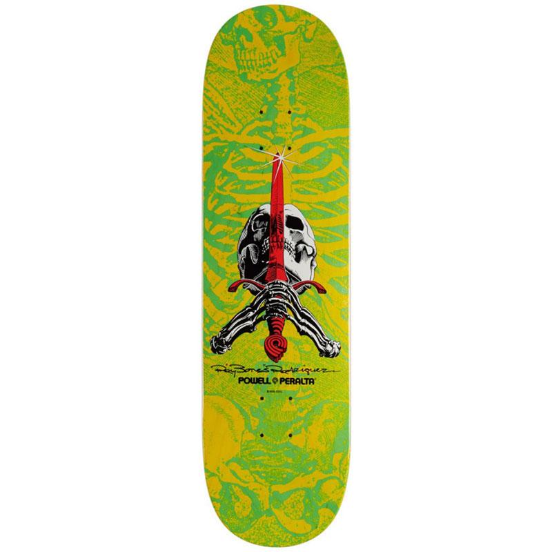 Powell Peralta Skull & Sword Skateboard Deck Shape 244 Yellow 8.5