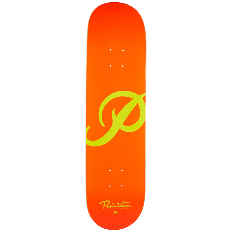 Primitive Classic P Skateboard Deck Orange/Yellow 8.125