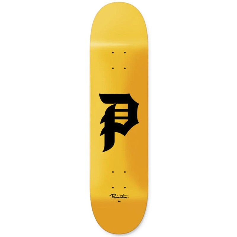 Primitive Dirty P Skateboard Deck Yellow 7.75