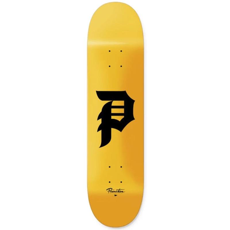 Primitive Dirty P Skateboard Deck Yellow 8.38