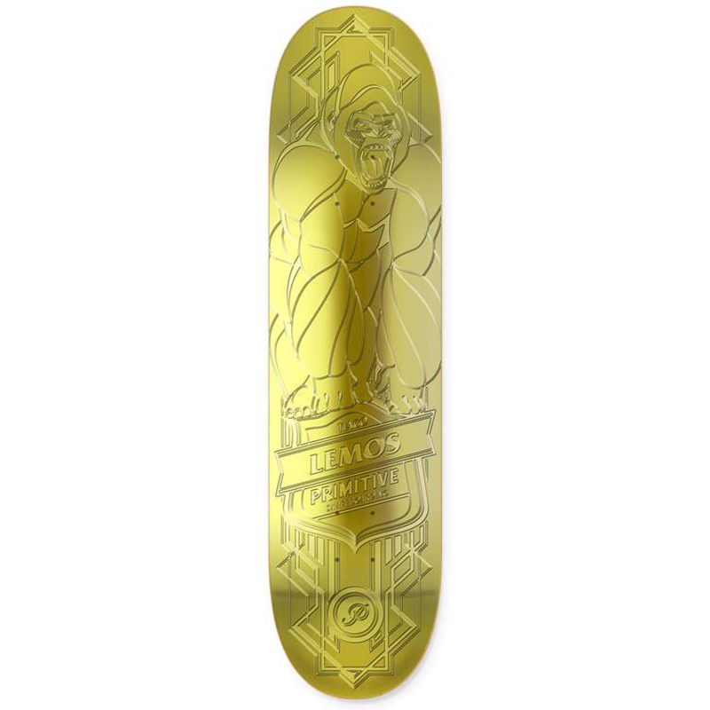 Primitive Lemos Raised Foil Gorilla Skateboard Deck Gold 8.38