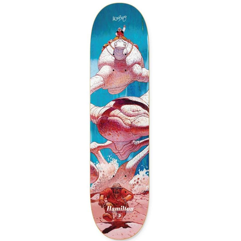 Primitive X Moebius Hamilton La Course Skateboard Deck Blue 8.38