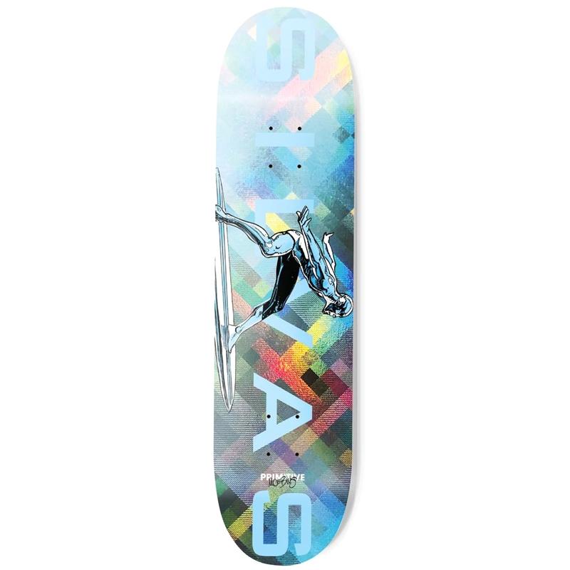 Primitive X Moebius Silvas Silver Surfer Skateboard Deck Blue 8.38