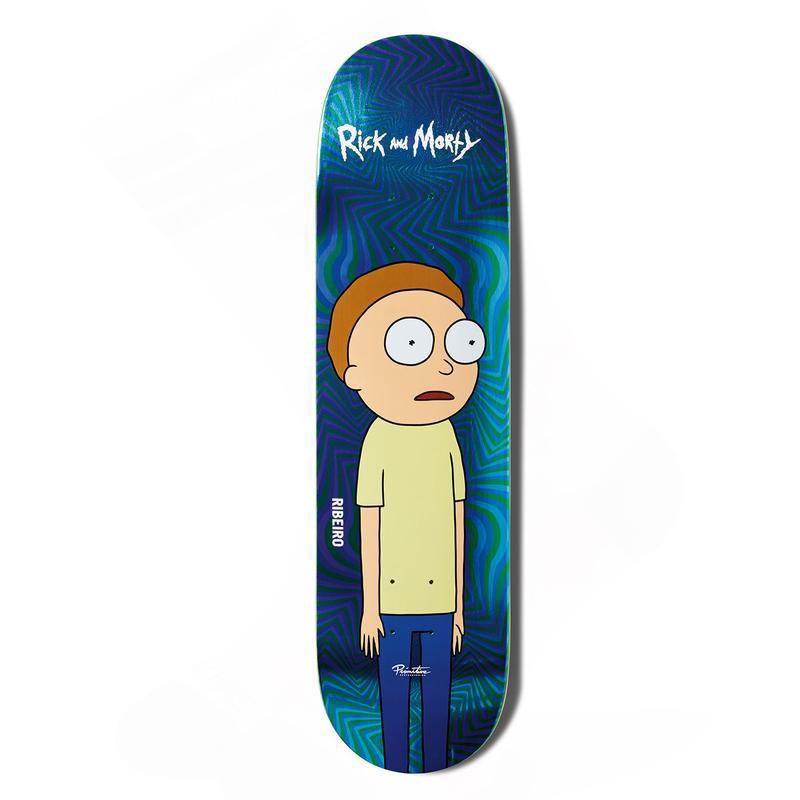 Primitive x Rick and Morty Ribeiro Morty Skateboard Deck Blue 8.1