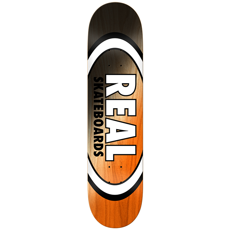 Real Angle Dip Oval Black/Orange Skateboard Deck 8125