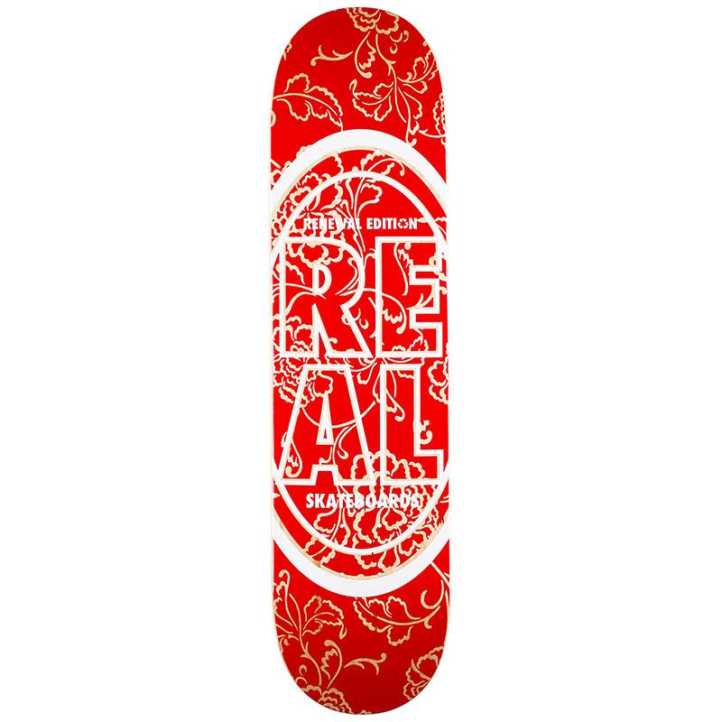Real Floral PP Skateboard Deck Red 7.75