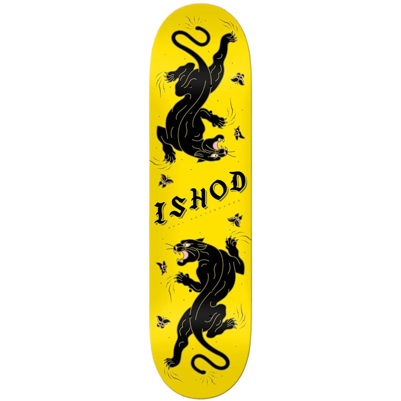 Real Ishod Wair Cat Scratch Skateboard Deck Yellow 8.25