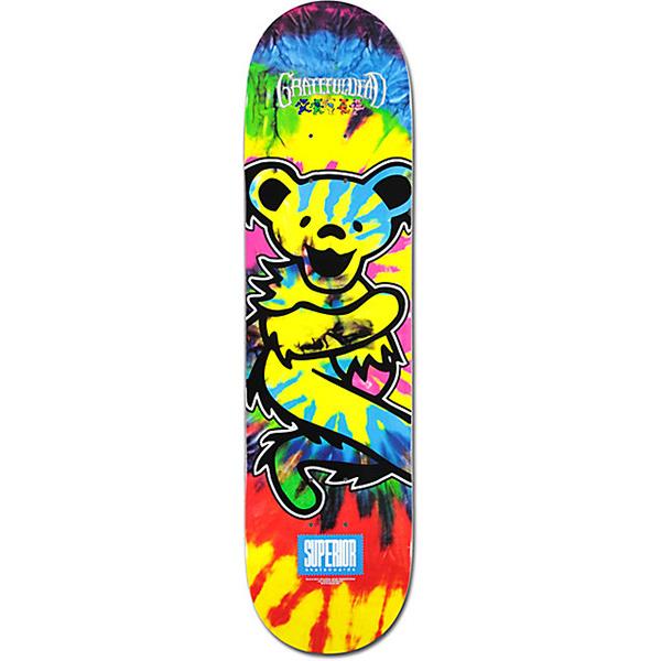 Superior Grateful Dead Bear Skateboard Deck Tie Dye 8.0