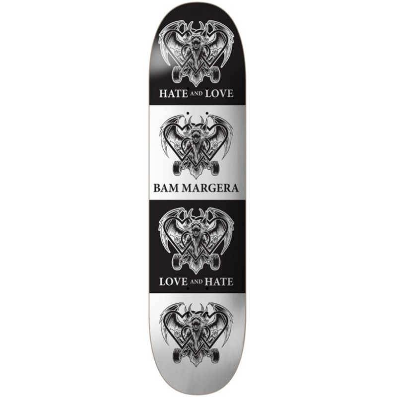 The Heart Supply Bam Margera Love & Hate Skateboard Deck Black/White 8.0