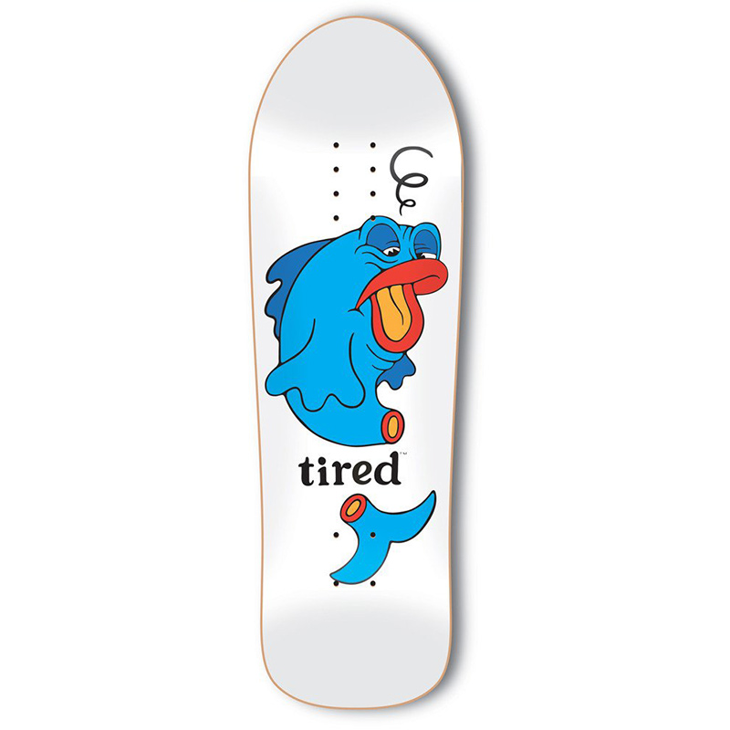 Tired Fish on Big Skateboard Deck 9.5