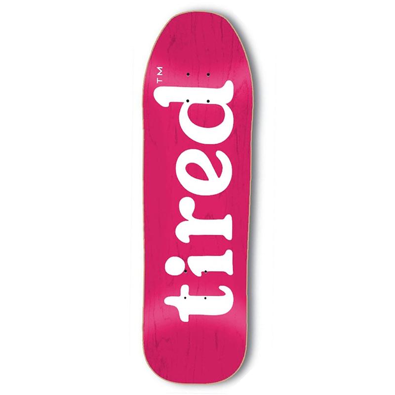Tired Lowercase Logo on Stumpnose Skateboard Deck 9.0