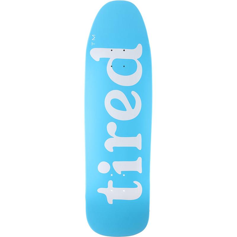 Tired Lowercase Logo on Stumpnose Skateboard Deck Blue 9.0