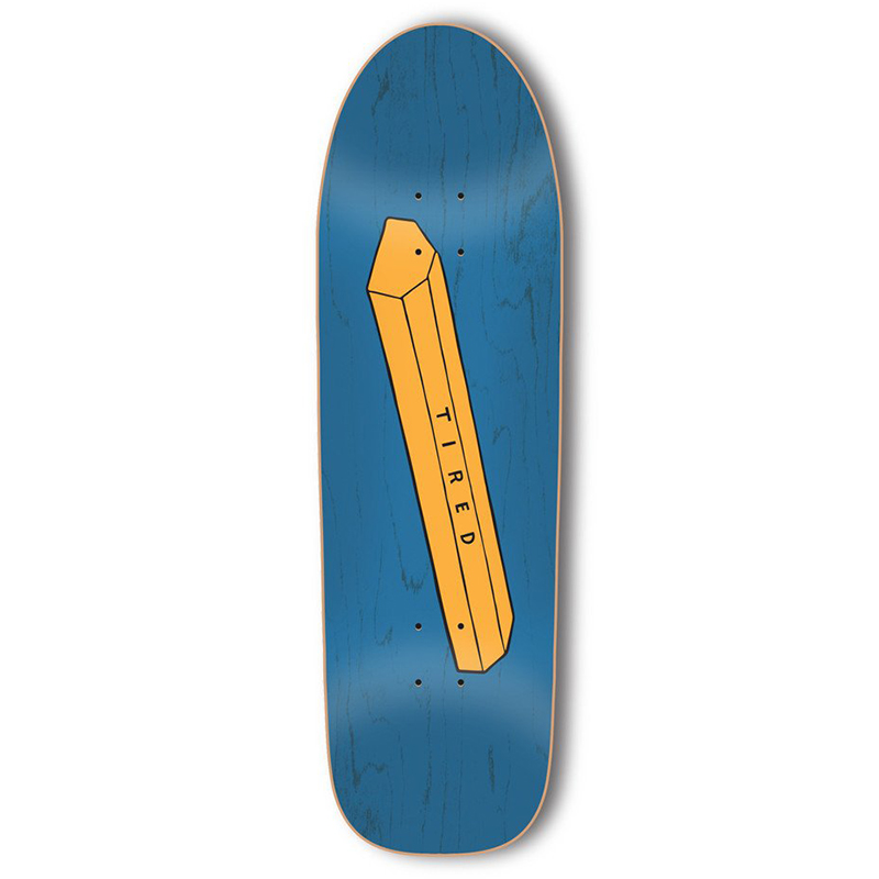 Tired Parking Block on Slick Skateboard Deck 9.189