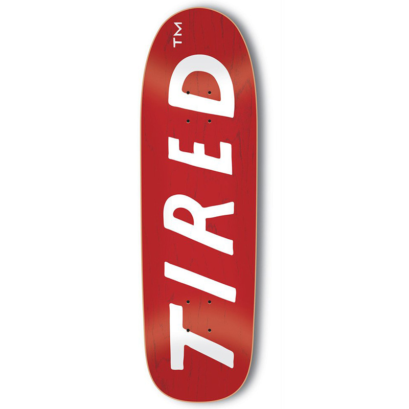 Tired Uppercase Logo on Sigar Skateboard Deck 9.25