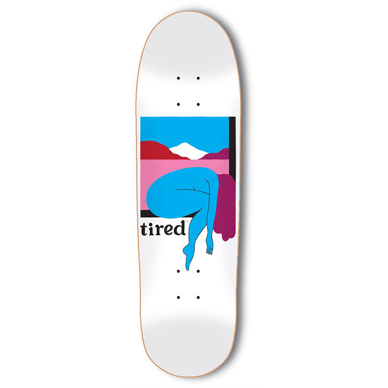 Tired Woman and Mountains on Deal Skateboard Deck 8.75