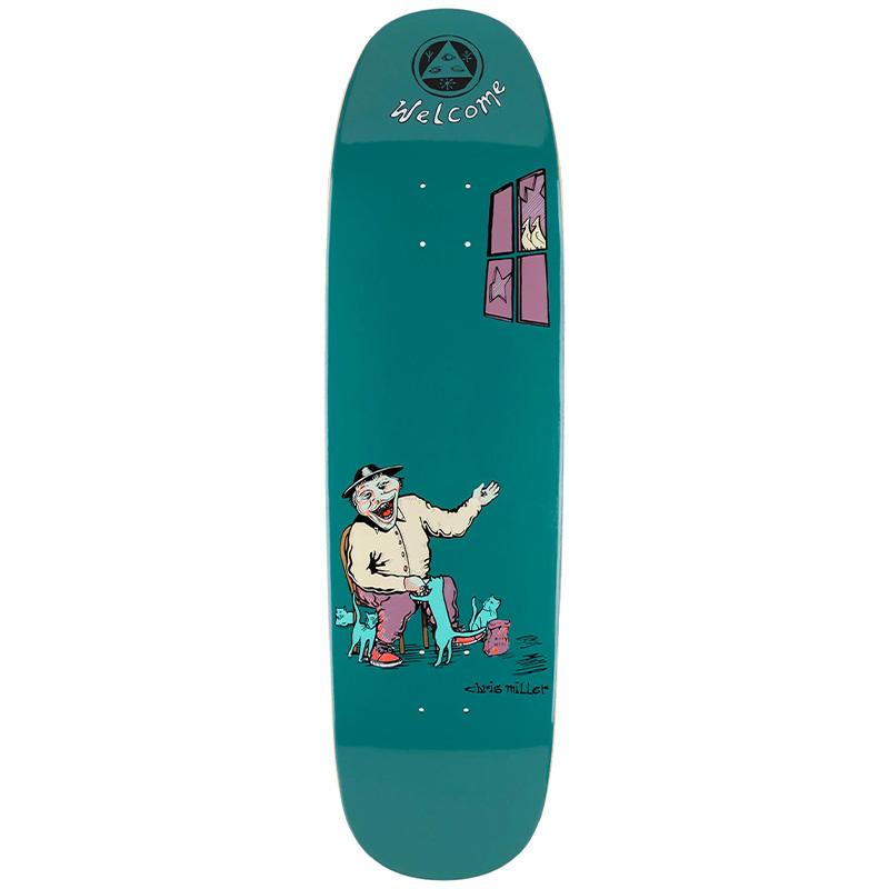 Welcome Bird Feeder Chris Miller Pro Model On Catblood 2.0 Skateboard Deck Deep Teal 8.75