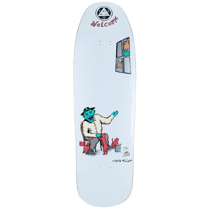 Welcome Bird Feeder Chris Miller Pro Model On Gaia Skateboard Deck White 9.6