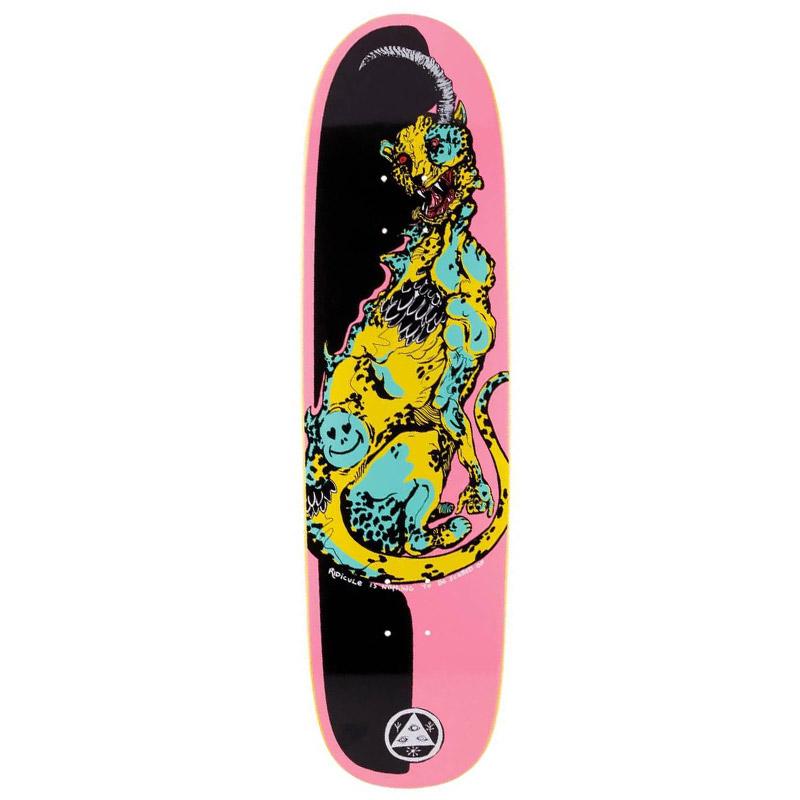 Welcome Cheetah On Sylphstick Skateboard Deck Pink/Black 8.5