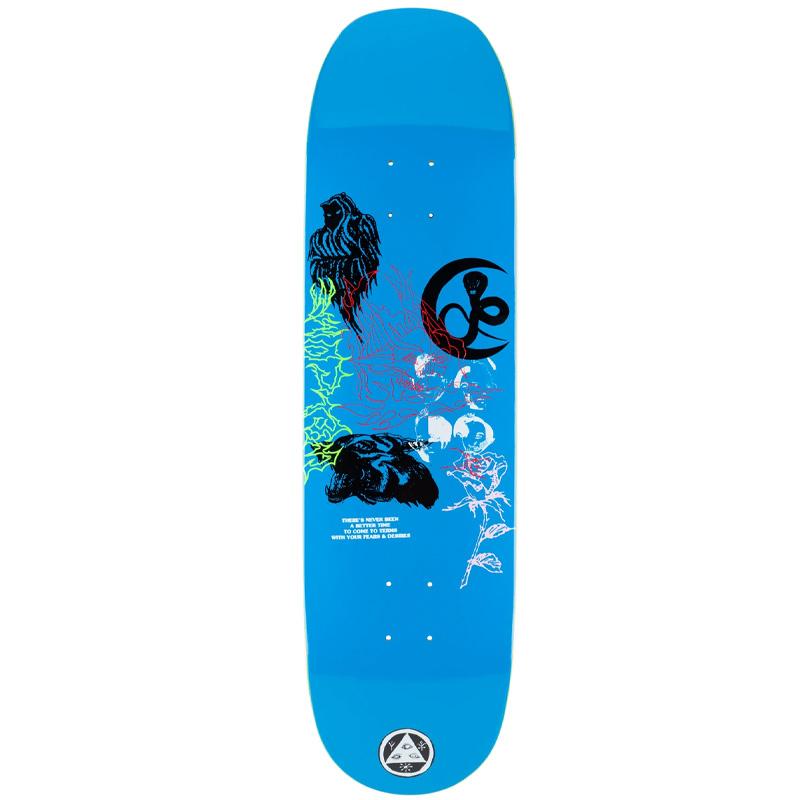 Welcome Flash on Moontrimmer 2.0 Skateboard Deck Blue 8.65