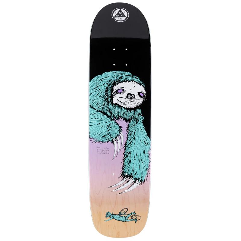 Welcome Sloth on Son of Planchette Skateboard Deck Black/Lavender 8.38