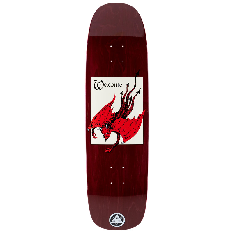 Welcome Unholy Diver on Son of Golem Skateboard Deck Dark Red Stain 8.75