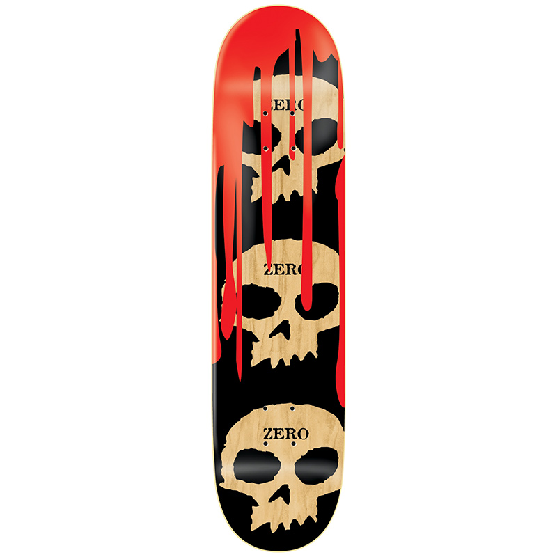Zero 3 Skull with Blood R7 Black/Red/Natural Skateboard Deck 8.125
