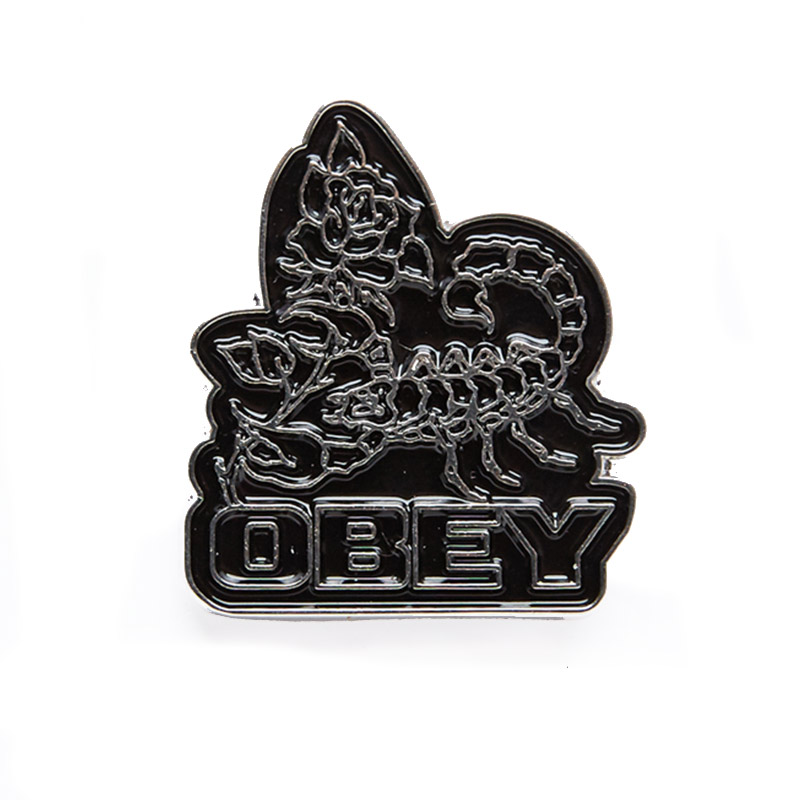 Obey Scorpion Rose Pin Black
